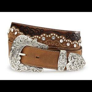 Women's kaitlyn crystal leather western belt